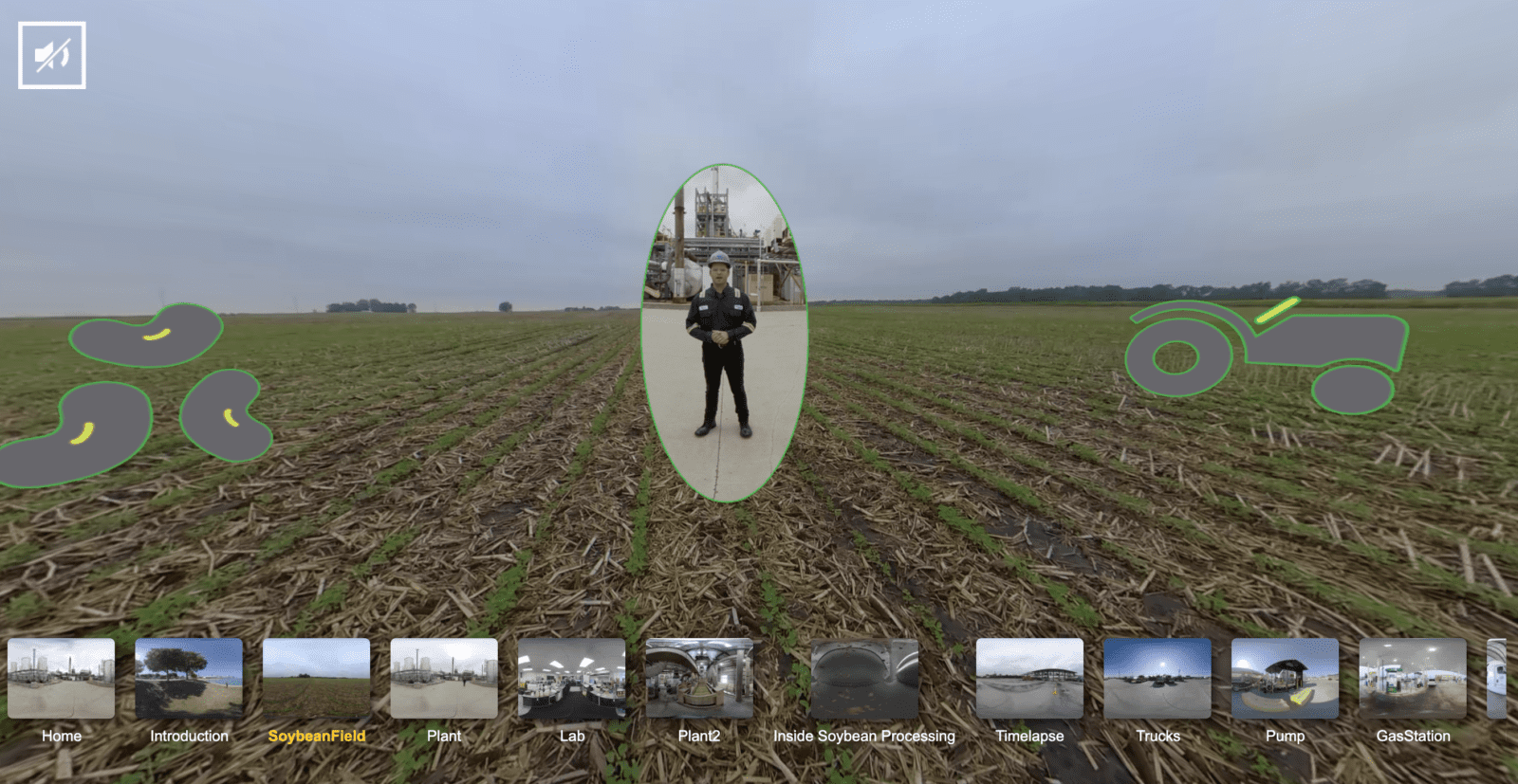 man standing in soybean field in VR experience landing page