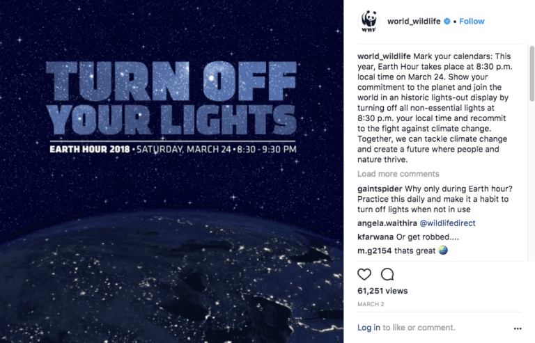Instagram video ad by World Wildlife Foundation promoting Earth Hour.
